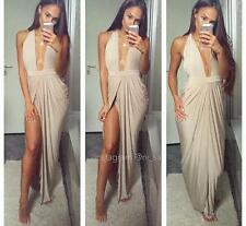 NEW House of CB Celeb Boutique Salima Gold Grecian Thigh Split Long Maxi Dress