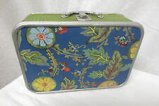 New Tracy Porter Blue Fantasy Floral Painted Small Suitcase Storage
