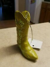 Resin Light Pea Green Cowboy Boot Ornament Midwest CBK New