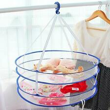 2 Layers Drying Rack Net Folding Hanging Clothes Laundry Sweater Dryer Mesh Bag