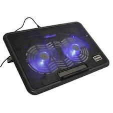 "12-15"" Laptop PC LED USB 2 Fan Air Cooing Cooler Pad Adjustable Anti-Slip S"