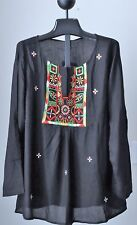 Sacred Threads Black Rayon  Embroidery Hippie Boho PEASANT Top Tunic L