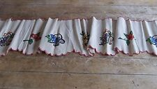 Antique French Vintage Rustic Linen Hemp Embroidered Pelmet  /  Panel C 1920