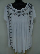 Plus Size 1X Top PEASANT Shirt BOHO Blouse EMBELLISHED Trendy Casual Cruise  NWT