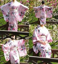 Pink Japanese Kimono Yukata Haori Costume Retro Geisha Dress Obi Cosplay Gown