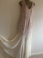 Bnwt Quiz Maxi Champagne Party Prom Ball Dress Sequin Beaded Flapper 10