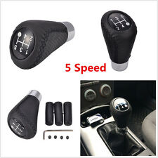 Black Leather 5 Speed Car Aluminum Manual Gear Stick Shift Knobs Boots Shifter