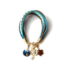 Leather Strap Charm Statement Cookie Monster Blue Brown Star Bracelet Gift Idea