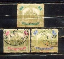 1904-22 Malaya Malaysia FMS  Wkm Multi Crown  CA $1, $2 ,$5. CV Rm 1280