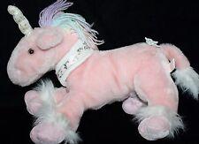 """Shalom Toy PINK Plush UNICORN 14"""" Pastel Rainbow Yarn Mane Stuffed Bow Soft Toy"""