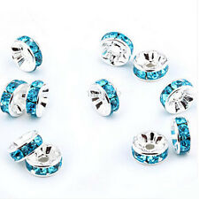 Lot 50/100Pcs Crystal Rhinestone Silver Plated Rondelle Loose Spacer Beads 6mm