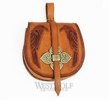 Medieval Viking Leather Pouch/Bag with Ravens --- Norse/Pirate/Festival/SCA/LARP