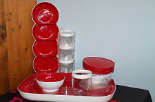 TUPPERWARE classy carefree chic SET serving tray stemless wine bowls red white