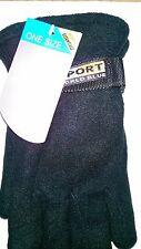 One Size Winter Essentials Ladies Polar Fleece Gloves in Black