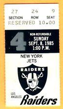 9/8/85 JETS/RAIDERS FOOTBALL TICKET STUB