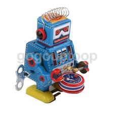 Retro Wind Up Drumming Drum Robot Mechanical Clockwork Tin Toy Collectible
