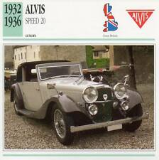 1932-1936 ALVIS SPEED 20 Classic Car Photograph / Information Maxi Card