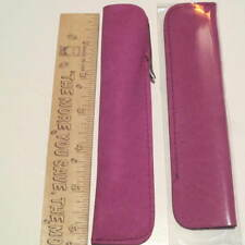 SET of 2 GRAPEY PURPLE SUEDE LEATHER LARGE TOP OPEN Pen Pouch/Sleeve/ Holder
