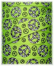 """7/8"""" ZEBRA PEACE SIGN CAMOFLAUGE GROSGRAIN RIBBON LIME 4 HAIRBOW BOW"""