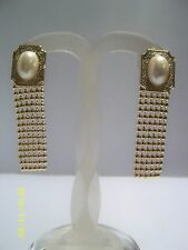 Square Gold Tone Clip on Earrings with Oval Faux pearl and Chain drop Vintage