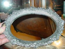 Silver Pewter VICTORIAN ROSE Mirror Tray ~ Vanity Piece