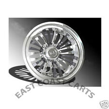 "EZGO, Club Car, Yamaha Golf Cart BURST 8"" CHROME Wheel Covers Hub Caps (4)"