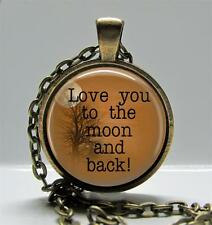 """Love You to the Moon & Back Pendant Charm or Key Chain 1"""" Round Bronze Setting"""