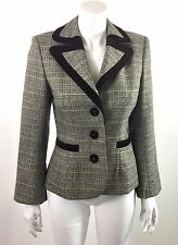 PINK TARTAN Wool Brown Plaid Fitted Jacket Velvet Trim Size 4 WORN ONCE