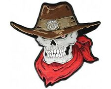 "(L10) Large COWBOY SKULL 11"" x 10"" iron on Back patch (3786) Anarchy Biker"
