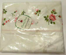 Vintage Springmaid Full Flat Sheet Fine Cotton Percale Pink Rose Shappy Chic New