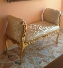 Dormeuse divano panca panchetta in foglia oro tessuto damascato legno L 145 cm