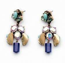 Bronze Tone  Rainbow Blue Crystal Stud Dangle Statement Earrings UK Shop