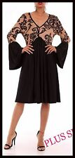PLUS SIZ SLIMMING EMPIRE WAIST BLACK TAUPE BELL LONG SLEEVE TUNIC DRESS XXXL 3X