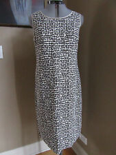 Max Mara Sleveless Linen Sheath Dress in Natural and Brown Pattern Size 12