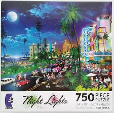 CEACO® 750pc NIGHT LIGHTS • MIAMI - SOUTH BEACH • PUZZLES Jig Saw USA MADE