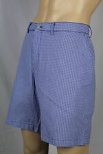 Polo Ralph Lauren Blue Checkered Seersucker Prospect Cotton Chino Shorts 42 NWT
