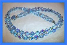 "Sherman LAVENDER BLUE AB - 24"" DOUBLE STRAND FACETED CRYSTAL BEAD NECKLACE NR"