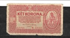 HUNGARY #58 1920 GOOD CIRC OLD 2 KRONEN BANKNOTE PAPER MONEY CURRENCY BILL NOTE