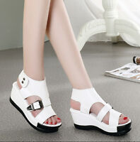 Womens Sandals Open Toe Hollow Out Buckle Wedge Platform Roman Slingback Shoes