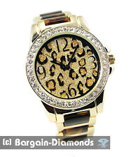 ladies leopard cheetah fashion dress watch gold-sand bling dial link bracelet