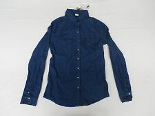 Bershka Denim Women's Long Sleeve Western Denim Shirt Dark Blue Size Small NWT