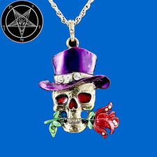 Secret Occult Skull Dead Head Rose Club Member Death Grim Reaper Pendant Pin WTF
