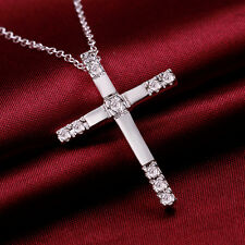 Hot Plated 925 Silver Crystal Cross Pendant Chain Necklace 18 inch LF
