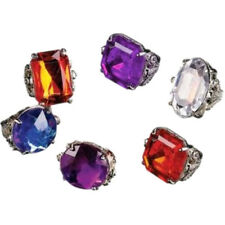 "6 (Six) 1"" Gem Fashion Jewel Ring Fake Pretend Costume Jewelry Kids or Adults"