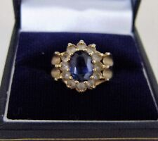 Ring 9ct Gold Women Sapphire Size Stones Quality Weight Vintage O-1/2 Hallmarked