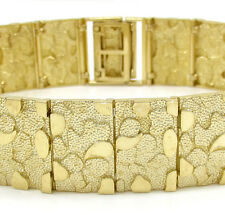 "29Gr 16mm 8.25"" Mens 10k Yellow Real Gold Large Nugget Box Old School Bracelet"