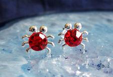 Ohrstecker Silber Krabbe crab Spinne Insekt Krabbeltier Kristall rot