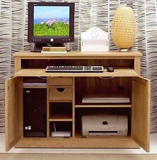 Nara computer desk hideaway hidden home office solid oak furniture