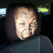 ZOMBIE FACE DESIGN CAR SEAT HEAD REST COVERS PACK OF 2 MADE IN YORKSHIRE