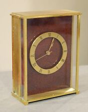 Tiffany & Co Brass Glass Mantel Shelf Desk Clock w/ Red Face 1960s Vintage Works